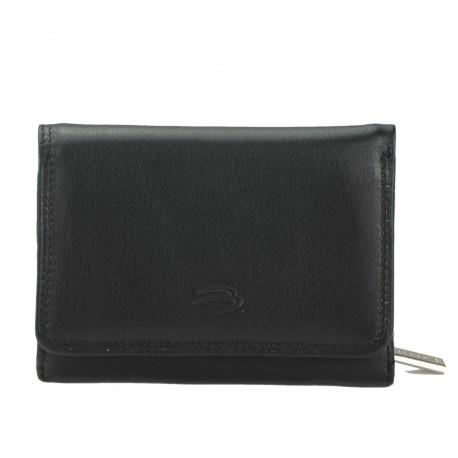 B00042 P-Monnaie/carte cuir bovin dbl textile pleine fleur tan.chrome