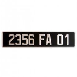 PLAQUE AUTO ALU AR 110*520 FOND NOIR