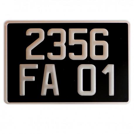 PLAQUE AUTO ALU AR 200*275 FOND NOIR