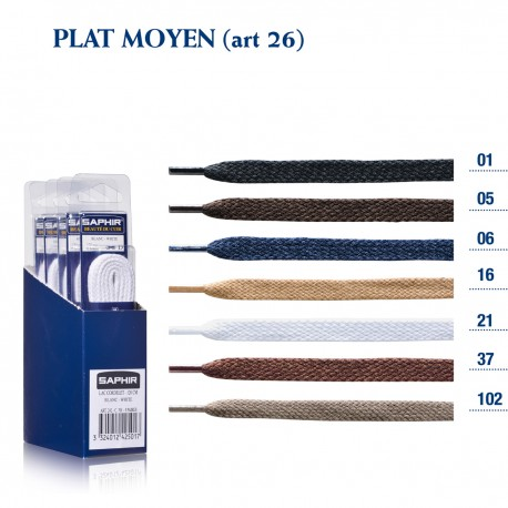 LACETS SAPHIR PLAT MOYEN 150/ BOITE DE 4 P